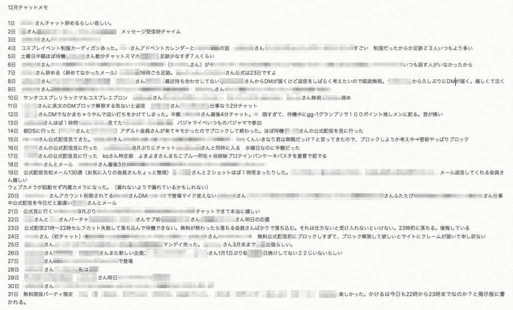 チャットレディ実践記【2020/12】 会話内容 メモ 顧客管理 固定客 常連